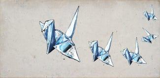 Origami Kräne lizenzfreie abbildung