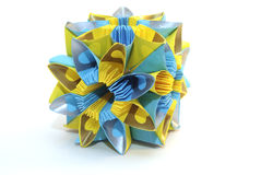 Origami kusudama. Colorfull origami unit Blue and yellow flower isolated on white, like a Ukrainian flag Royalty Free Stock Photos