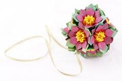 Origami kusudama paper-made ball isolated on white Royalty Free Stock Photos