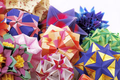 Origami kusudama paper-made balls in composition Royalty Free Stock Image