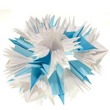 Origami kusudama snowflake. Colorfull origami unit snowflake isolated on white background Stock Photo