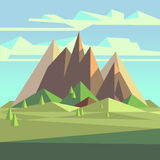 Origami landscape in 3d low poly style with mountains, trees and sky Royalty Free Stock Photos