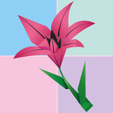 Origami lily flower card, floral background Royalty Free Stock Photos