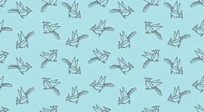 Origami linear woodpecker bird seamless pattern. Japanese outline vector ornament. Endless texture can be used for wallpaper, web page background, surface Stock Image