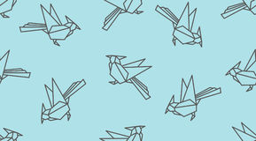 Origami linear woodpecker bird seamless pattern. Japanese outline vector ornament. Endless texture can be used for wallpaper, web page background, surface Stock Photo