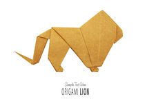 Origami lion king. Of kraft paper on a white background Stock Photography