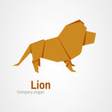 Origami lion logo. Orange lion logo from folded paper Stock Photography