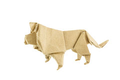 Origami lion recycle paper Stock Images
