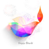 Origami Lit Lamp for Diwali Celebration. Colourful creative origami Lit Lamp on floral pattern, Vector greeting card for Indian Festival of Lights, Happy Diwali Stock Photography