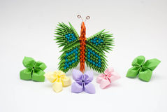 Origami lotus with butterfly Royalty Free Stock Images
