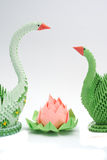 Origami lotus with swans Stock Photography