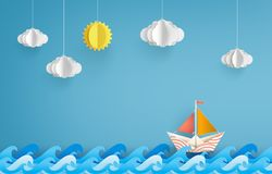Origami made colorful paper sailing boat. royalty free illustration
