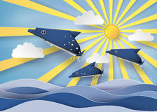 Origami made dolphin and sailing boat Float on the sea with Orig vector illustration