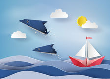 Origami made dolphin and sailing boat Float on sea . stock illustration