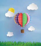 Origami made hot air balloon and cloud Royalty Free Stock Photography
