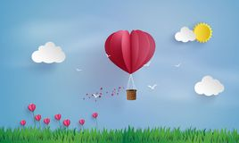 Origami made hot air balloon and cloud stock illustration