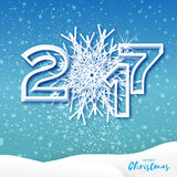 Origami Merry Christmas Greeting card with Cutout Paper Snowflake 2017. And landscape on blue background. Happy New Year holiday. Vector seasonal design stock illustration