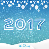 Origami Merry Christmas Greeting card with 2017 and landscape. White Origami Merry Christmas Greeting card with Cutout Paper 2017 and landscape on blue Stock Photography