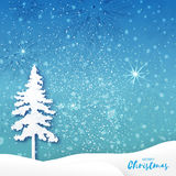 Origami Merry Christmas Greeting card with Xmas Tree and landscape. White Origami Merry Christmas Greeting card with Cutout Paper Xmas Tree and landscape on blue Vector Illustration