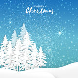 Origami Merry Christmas Greeting card with Xmas Tree and landscape Royalty Free Stock Images