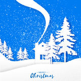Origami Merry Christmas Greeting card with Xmas Tree and landscape Stock Images