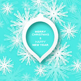 Origami Merry Christmas and Happy New Year card with ball Royalty Free Stock Images