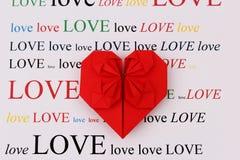 Origami miłości kształt Zdjęcie Stock