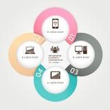 Origami moderni del cerchio di tecnologia della comunicazione. Fotografie Stock