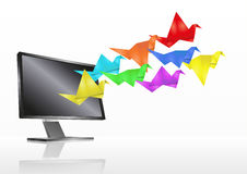 Origami monitor Stock Photography