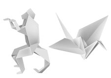 Origami_monkey_crane. Illustration of folded paper models, monkey and crane. Vector illustration Royalty Free Stock Images