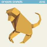 Origami monkey. Vector simple flat illustration. New Year 2016. Origami monkey. Vector clear simple flat illustration. New Year 2016 Stock Images