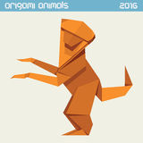 Origami monkey. Vector simple flat illustration. New Year 2016 Royalty Free Stock Photos