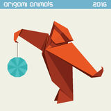 Origami monkey. Vector simple flat illustration. New Year 2016 Royalty Free Stock Images
