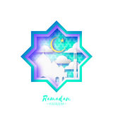 Origami Mosque Star Window Ramadan Kareem Greeting card with arabic arabesque pattern. Royalty Free Stock Photos