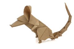 Origami mouse. From recycled paper Stock Image