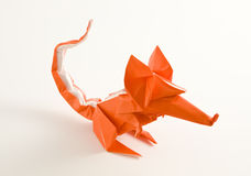 Origami mouse. A close shot of an origami mouse isolated on white Royalty Free Stock Photos