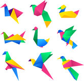 Origami multicolor birds Royalty Free Stock Photography
