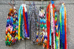 Origami necklaces in a shinto temple, Tokyo Stock Photo