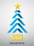 Origami New Year Tree. With star and 2013 Royalty Free Stock Photo