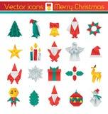 Origami Noël, icônes de vecteur, éléments illustration stock