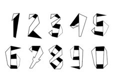 Free Origami Numbers Set. Elements For Your Design Stock Photo - 190720120