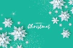 Origami opad śniegu Wesoło bożych narodzeń powitań karta Białego papieru rżnięty śnieżny płatek Zdjęcia Stock