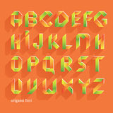 Origami Orange Flat Font. Vector Alphabet Set. Latin letters Royalty Free Stock Image