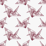 Origami ornate crane vector seamless pattern. Royalty Free Stock Photos
