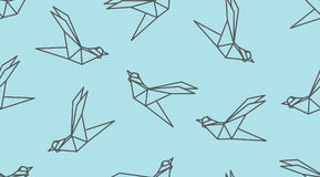Origami outline bird seamless pattern. Japanese vector ornament. Endless texture can be used for wallpaper, web page background, surface, textile print Royalty Free Stock Photo