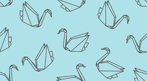 Origami outline crane bird seamless pattern. Linear japanese vector ornament. Endless texture can be used for wallpaper, web page background, surface, textile Stock Photo