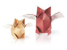 Origami owls. Set of two origami owls on the white background Stock Photography