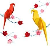 Origami papegojor Arkivfoto