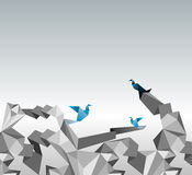 Origami paper. Origami abstract background. Paper is transformed to birds Royalty Free Stock Images