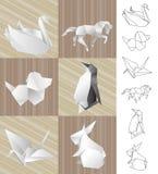 Origami paper animals Stock Images